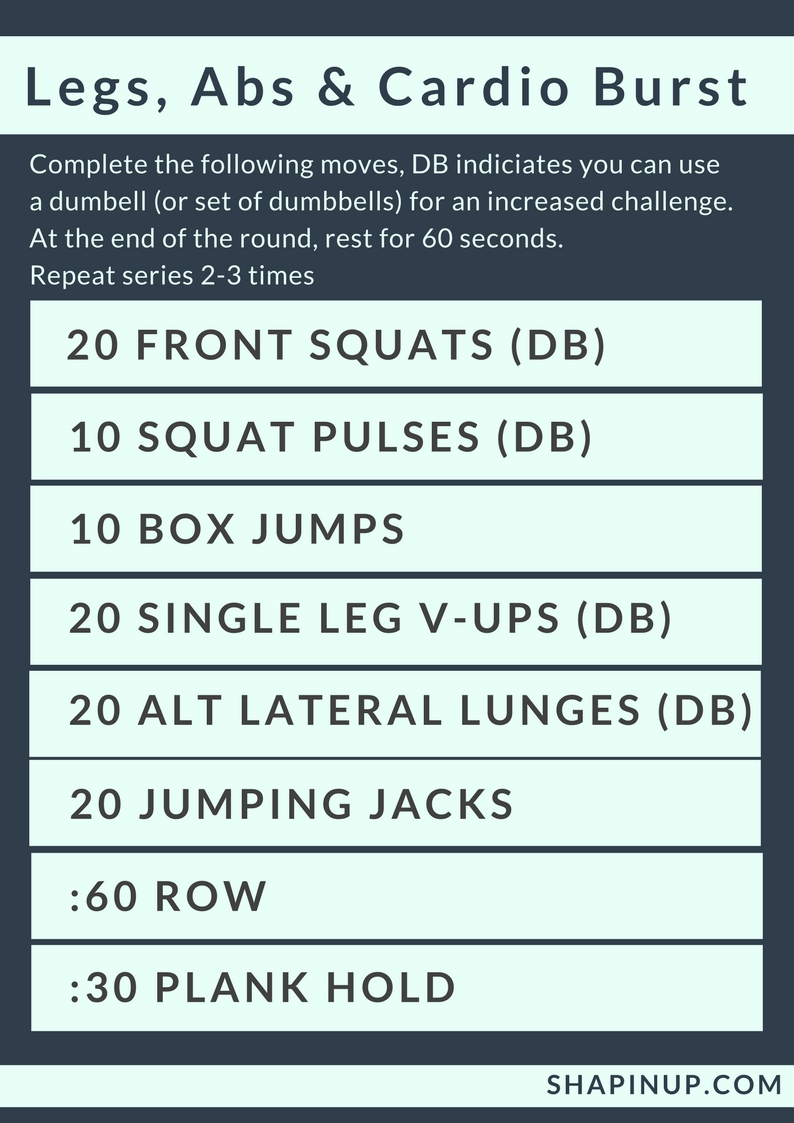 Shapin Up Fridays Fitness Legs Abs Cardio Workout Circuit Arms